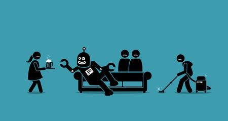 인간은 로봇의 하인이되었습니다. 로봇은 주인이되었고 인류를 노예로 만든다. 삽화 일러스트 레이 션은 인공 지능, 인공 지능 및 인류를 인수하는 기