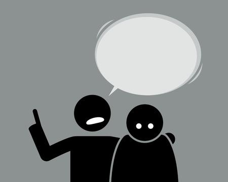 Un ami qui conseille son ami qui se sent malade. L'homme met sa main sur son épaule ami et commence à lui donner des leçons sur la vie.