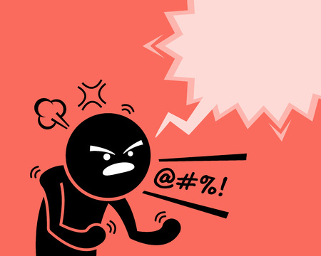 A very angry man expressing his anger, rage, and dissatisfaction by asking why. He is cursing and swearing at something or someone by yelling and screaming out loud. He is very pissed off. Illustration