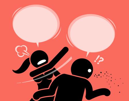 Femme en colère gifler un homme pour être grossier et insultant. Elle le gifle durement sur le visage et lui demande de se taire et de fermer sa sale bouche.