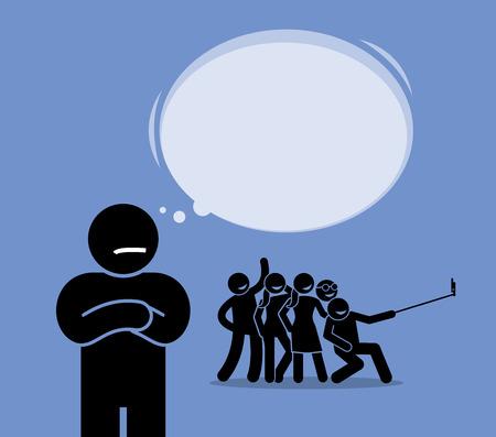 反社会的または反社会。それらに参加したくないが、楽しいことの友人のグループを見ている男。彼は一人になるし、周りの付き合いが嫌いなこと