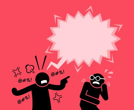 Un hombre gritando y gritando a su amigo. Él lo culpa y lo acusa de maldad. Su amigo está asustado por su reacción. Ilustración de vector