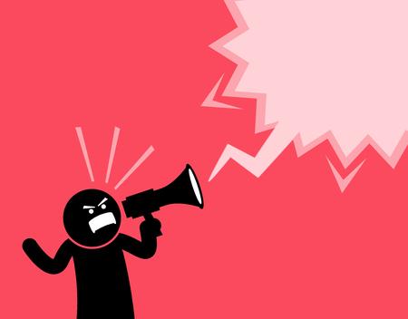 Man schreeuwde hardop met een megafoon. Hij verklaart en aankondigt iets belangrijk. Hij is vol van geest, emotie, en knipt zijn vuist terwijl hij met de luidspreker schreeuwt. Stockfoto - 84729238