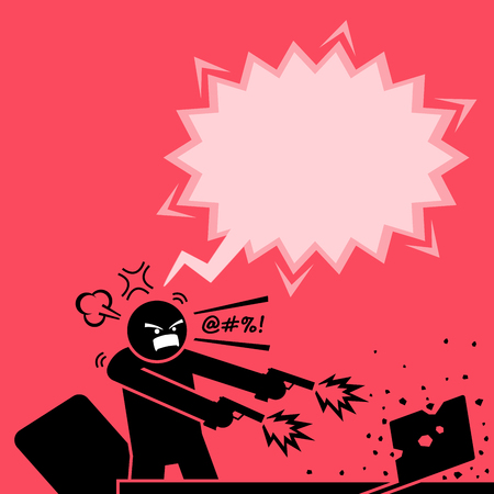 Man shooting at a computer with two guns because he is very angry at the laptop. He destroys the laptop by firing bullets to it. The computer is totally destroyed by the enraged man.