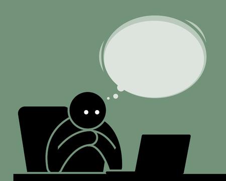 Mann, der vom Computer mit Internet liest und schaut. Er wartet und fühlt sich erwartungsvoll beim Betrachten des Laptopbildschirms.