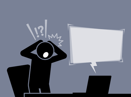 Man is feeling shocked and surprised after reading the news from the Internet Illustration