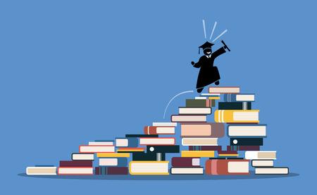 Glücklicher Schulabgänger, der zur Oberseite von Buchhaufen klettert. Vektorgrafiken zeigen den Prozess und Schritt für Schritt, Weisheit, Wissen, Erfolg, Bildung, Belohnungen und harte Arbeit zu erreichen.