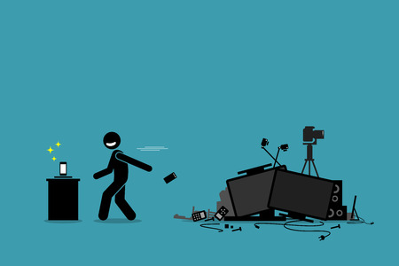 Tech Trash Problem. Vector artwork depicts a man throwing away old phone and other outdated devices to pursue newest technology and gadget. 向量圖像
