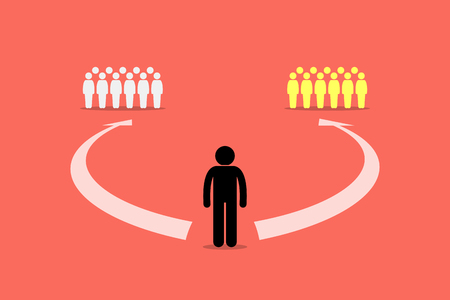 guy standing: Man choosing to join between two teams or two group of people. Vector artwork depicts decision, choice, path, and direction of life. Illustration
