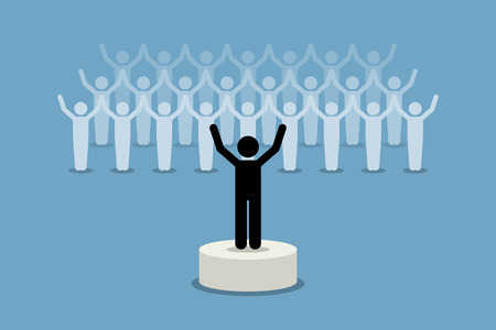 guy standing: A leader giving inspiration and motivation to his followers. Vector artwork depicts leadership, team spirit, and supporters. This is a successful group, organization, and company. Illustration
