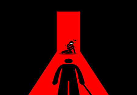 Abusive father beating and torturing his son. Vector artwork depicts child abuse. Illustration