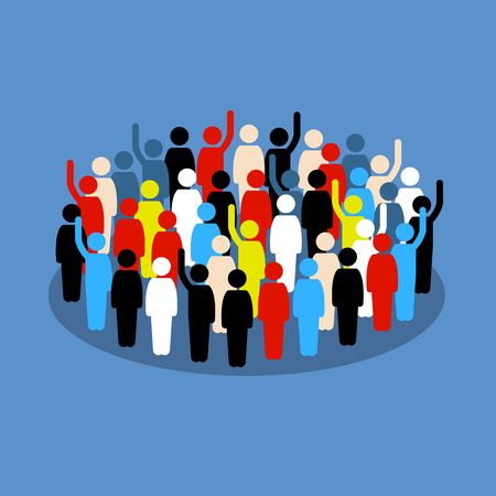 People in the crowd raising hand to show support and vote. Vector artwork depicts society, differences, democracy, and public voting.
