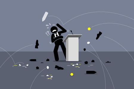Méchant politicien étant hué. Les gens jetant des objets et des choses à l'orateur sur la scène. Les illustrations de vecteur dépeignent des personnes en colère, des manifestants, une mauvaise exécution de scène, et un mauvais politicien. Banque d'images - 86108574