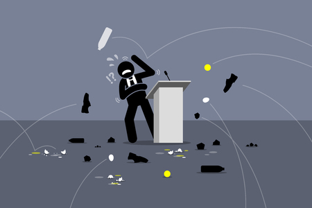 Lousy politician being booed. People throwing objects and things at the speaker on the stage. Vector artwork depicts angry people, protesters, poor stage performance, and bad politician.