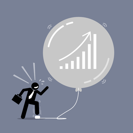 Stock Market Bubble. Vector artwork depicts a happy businessman keep inflating a bubble balloon to make it bigger and bigger. The balloon is about to burst but the man does not care about it. Ilustração