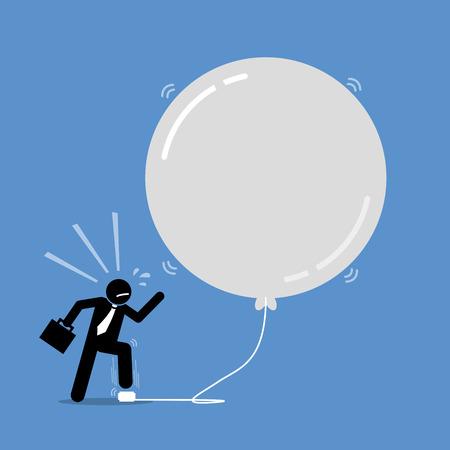 Bańka inwestycyjna pieniędzy. Grafika wektorowa przedstawia szczęśliwego biznesmena, wciąż pompującego balon bąbelkowy, aby był większy i większy. Balon zaraz pęknie, ale mężczyzna nie dba o to.