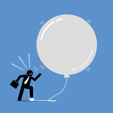 Money Investment Bubble. Vector artwork depicts a happy businessman keep inflating a bubble balloon to make it bigger and bigger. The balloon is about to burst but the man does not care about it. Ilustração