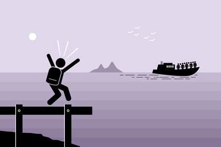 Miss the Boat. Man failed to catch the boat which has already sailed away. Vector artwork depicts late, slow, laggard, and left behind.