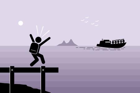 Spóźnić się na statek. Człowiek nie zdołał złapać łodzi, która już odpłynęła. Grafika wektorowa przedstawia późny, powolny, laggard i pozostawione.