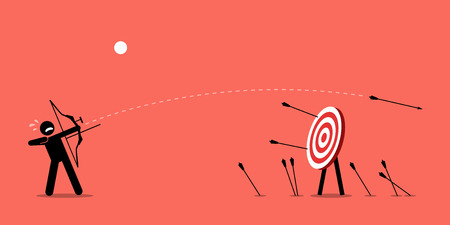 newbie: Failing to hit the target. Man desperately trying to shoot arrows with bow to hit the bullseye but failed miserably. Vector artwork depicts failure, inaccurate, missing, and lousy.
