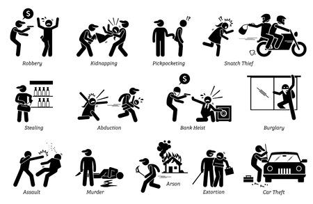 Crimine e criminale. Il pittogramma descrive varie attività criminali che includono rapinatore, rapitori, ladri, rapine in banca, aggressione, omicidio, incendio doloso ed estorsione.