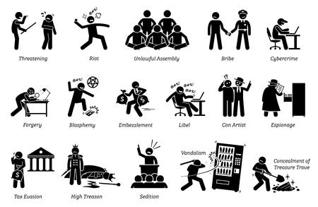 범죄와 범죄. 픽토그램은 폭력적, 불법적 인 집회, 폭동, 사기, 선동, 명예 훼손, 반란, 파괴 행위 등 다양한 범죄 행위를 묘사합니다.
