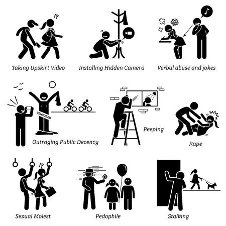 성범죄 및 범죄. 그림의 그림은 성희롱을 묘사합니다. 일러스트