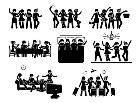 Illustration of women hanging out with friends.