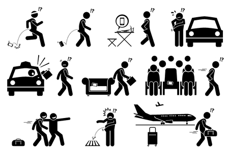 People dropping, forgetting, misplaced and losing their phone and belongings. Stick figure pictogram icons illustrate careless man lose his phone, bag, wallet, luggage and key. Illustration