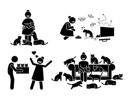 Crazy Cat Lady Stick Figure Pictogram Icons. Las ilustraciones representan a una mujer con muchos gatos en su casa. Ella adopta, ama y alimenta gatos callejeros.