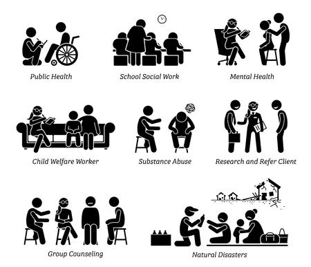 Assistentes sociais Stick Figure pictograma ícones. As ilustrações retratam assistente social em saúde pública, escola, bem-estar infantil, abuso de substâncias, cliente de referência de pesquisa, desastre natural e aconselhamento em grupo. Ilustración de vector