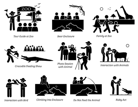 People, Tourist, and Family at Zoo Stick Figure Pictogram Icons. Illustrations depicts tour guide at zoo, animal, bear enclosure, crocodile feeding show, photo session, touching animal, and risky act.