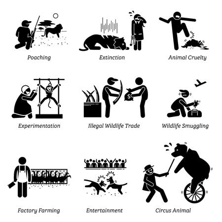 Dierenrechten en problemen stok figuur Pictogram pictogrammen. Illustraties tonen stroperij, uitsterven, dierenmishandeling, experimenten, illegale handel in wilde dieren, bio-industrie, entertainment en circus.