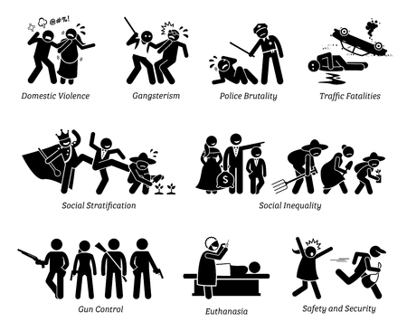 Sociale problemen en kritische problemen Stick Figure Pictogram Icons. Illustraties tonen huiselijk geweld, gangster, politiegeweld, sociale ongelijkheid, wapenbeheersing, euthanasie, veiligheid en beveiliging. Vector Illustratie