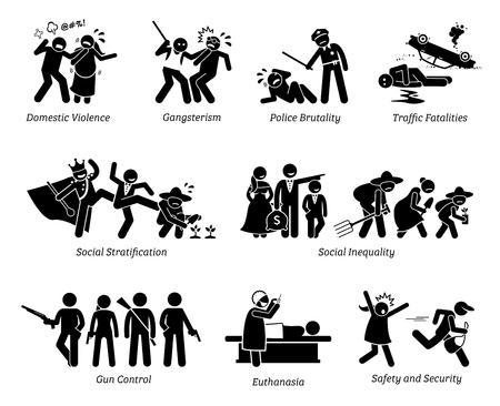 Soziale Probleme und kritische Probleme Strichmännchen Piktogramm Icons. Illustrationen zeigen häusliche Gewalt, Gangster, Polizeibrutalität, soziale Ungleichheit, Waffenkontrolle, Euthanasie, Sicherheit. Vektorgrafik