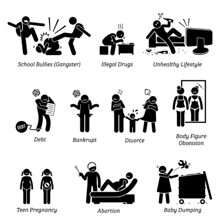 Youth Social Issues Stick Figure Pictogram Icons. Illustrations depicts school bullies, illegal drugs, unhealthy lifestyle, debt, bankrupt, divorce, teen pregnancy, abortion, and baby dumping. Illustration