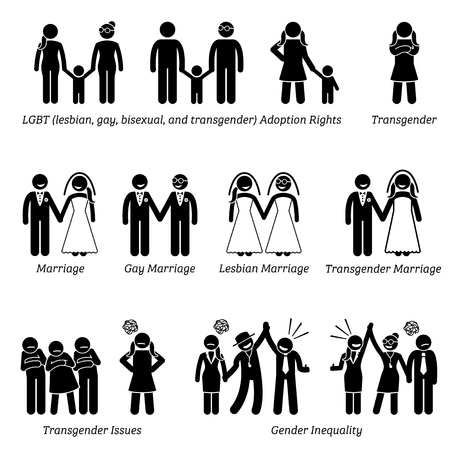 Social Problems Stick Figure Pictogram Icons. Illustrations depicts LGBT issues of adoption rights, marriage, and gender inequality.