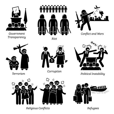 Problèmes sociaux World Problems Pictogram Icons. Les illustrations représentent la transparence du gouvernement, l'émeute, la guerre civile, les conflits, le terrorisme, la corruption, l'instabilité politique, les conflits religieux et les réfugiés.
