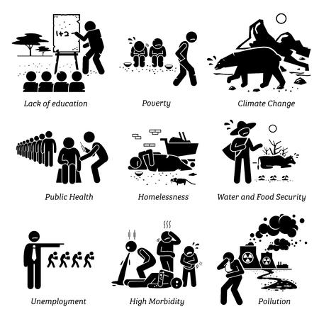Kwestie społeczne i krytyczne problemy ikony piktogramów. Ilustracje przedstawiają brak edukacji, ubóstwo, zmiany klimatyczne, zdrowie publiczne, bezpieczeństwo wody i żywności, bezrobocie, wysoką zachorowalność i zanieczyszczenie.