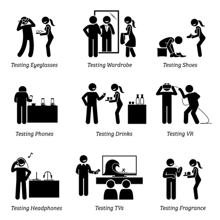 Man testing products at shop. Stick figure pictogram icons depict a person testing eyeglasses, wearing shirt, shoes, footwear, new phones, tasting drinks, trying out VR, headphones, TV and perfume.