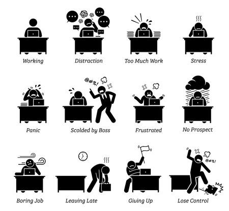 Trabajador que trabaja en un lugar de trabajo de oficina muy estresante. El empleado está distraído, tiene demasiado trabajo, está frustrado y regañado por el jefe. El trabajo es aburrido, agotador, ineficiente y no tiene perspectivas. Ilustración de vector
