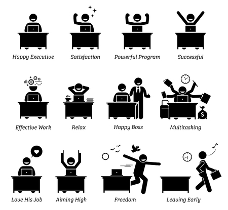Executive working in an efficient office workplace. The worker is happy, satisfied, successful, and enjoying the works. The businessman feels relax, in control, and has freedom over his job.