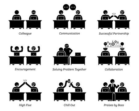 동료 및 비즈니스 파트너 직장 사무실에서 효율적으로 함께 작동합니다. 비즈니스 팀은 훌륭한 의사 소통, 성공적인 파트너십, 공동 작업, 문제 해결