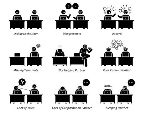 Collega en zakelijke partners werken inefficiënt samen op het kantoor van de werkplek. Het zakelijke team heeft onenigheid, ruzie en slechte communicatievaardigheden. Ze houden niet van elkaar en wantrouwen elkaar. Vector Illustratie