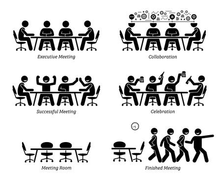 Executivos com reuniões e discussões eficazes e eficientes. Os empresários têm boa colaboração, uma reunião bem-sucedida e celebração. Eles terminaram a reunião antes do esperado.