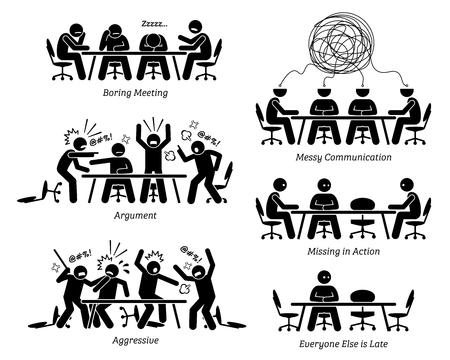 Führungskräfte mit ineffektiven und ineffizienten Besprechungen und Diskussionen. Die Geschäftsleute haben ein langweiliges Treffen, unordentliche Kommunikation, Streit und einen Kampf. Der Geschäftspartner kommt auch zu spät zum Treffen.