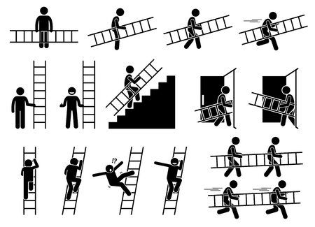 Man with a ladder. Pictogram showing a man holding and carrying a ladder while walking and running. The person also climbing up and down from the ladder. Stock Illustratie