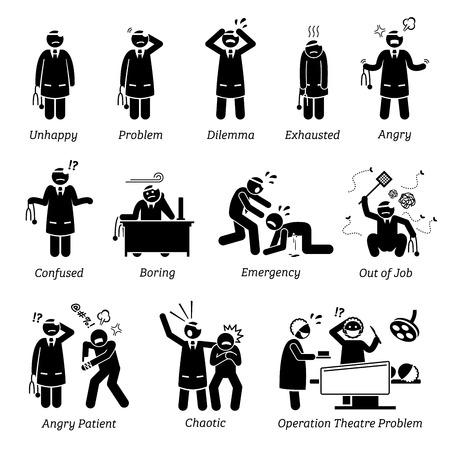 Médico ocupado e infeliz. Stick figura pictograma retrata um médico que está se sentindo infeliz, dilema, exausto, irritado, confuso e chato. O médico está tendo muitos problemas na clínica e no hospital. Ilustración de vector