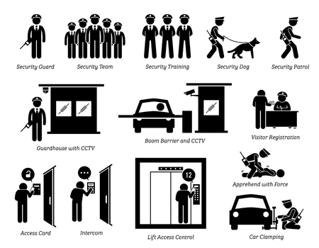 Security Guards Icons. Stick figures depict security guard, team, training, dog, patrolling, guardhouse, boom barrier gate, CCTV, visitor registration, car clamping, and security access card. Illustration