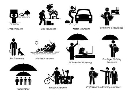 Allgemeiner Versicherungsschutz. Strichmännchen zeigen allgemeine Versicherungen für Sachschäden, Feuer, Kraftfahrzeuge, gewerbliche Zwecke, Heimtiere, Seefahrzeuge, Fernsehen, Haftung des Arbeitgebers, Rückversicherung, Mieter und Berufshaftpflicht. Vektorgrafik